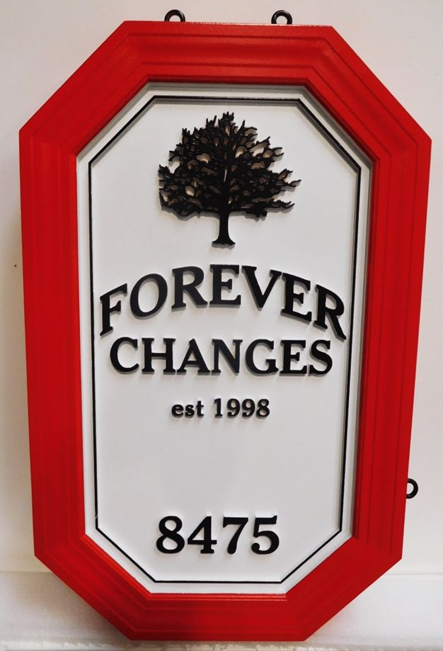 "I18325 - Carved and Sandblasted High-Density-Urethane (HDU)  Property Name Sign, ""Forever Changes"", with Oak Tree as Artwork"