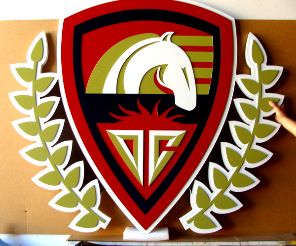 P25048 - Large Elegant Carved Equestrian Sign For Horse Show or Racing Track, with Stylized Horse Head, Shield and Laurel Leaves