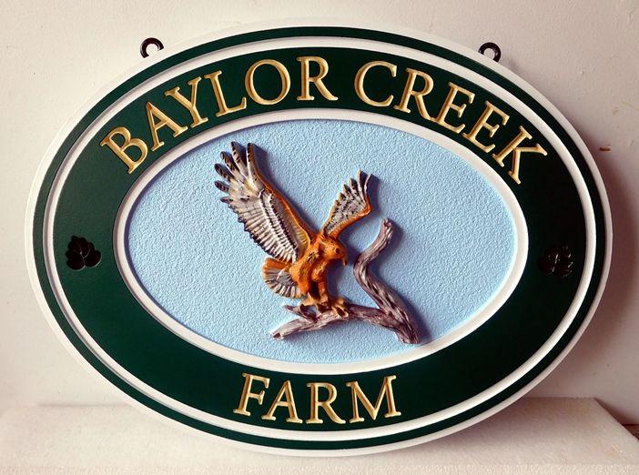 O24621 - Entrance Sign for Baylor Creek Farm, with Carved 3-D Golden Eagle Landing on a Branch