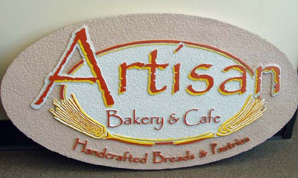 "Q25615 - Sandblasted HDU Sign for ""Artisan Bread and Cafe Handcrafted Bread and Pastries,"" Stalks of Wheat"