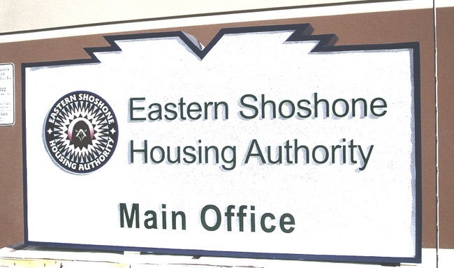 KA20525 -Carved HDU Sign for Eastern Shoshone Housing Authority Main Office