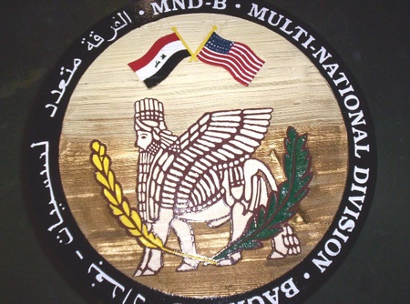 KP-2260 -  Carved Plaque of  the Insignia of the Multi-National Division in Iraq,  US Marine Corps,  Artist Painted Cedar Wood