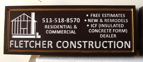"""S28059 - Engraved HDU Sign for """"Fletcher Construction Company""""  with Logo of Building Under Construction"""