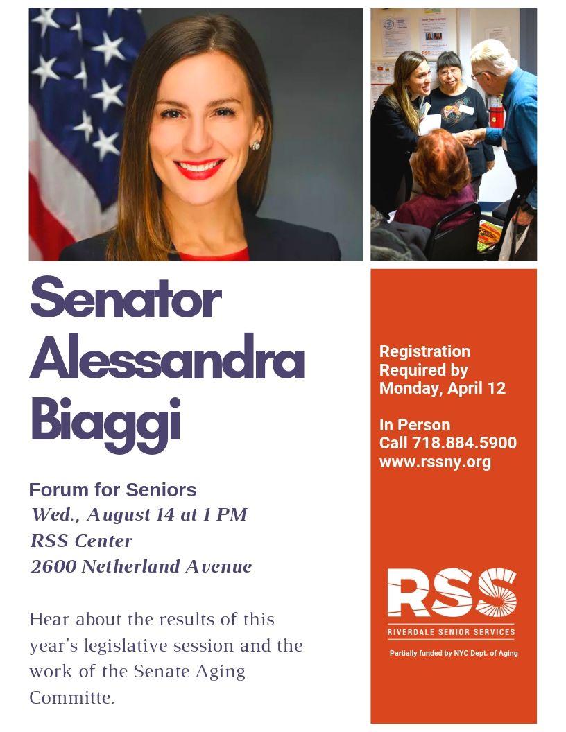 Senator Biaggi Forum for Seniors at RSS