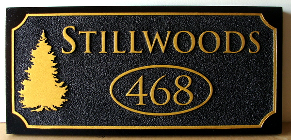 M22090 - Sandblasted HDU Address Sign for a Cabin. with Fir Tree