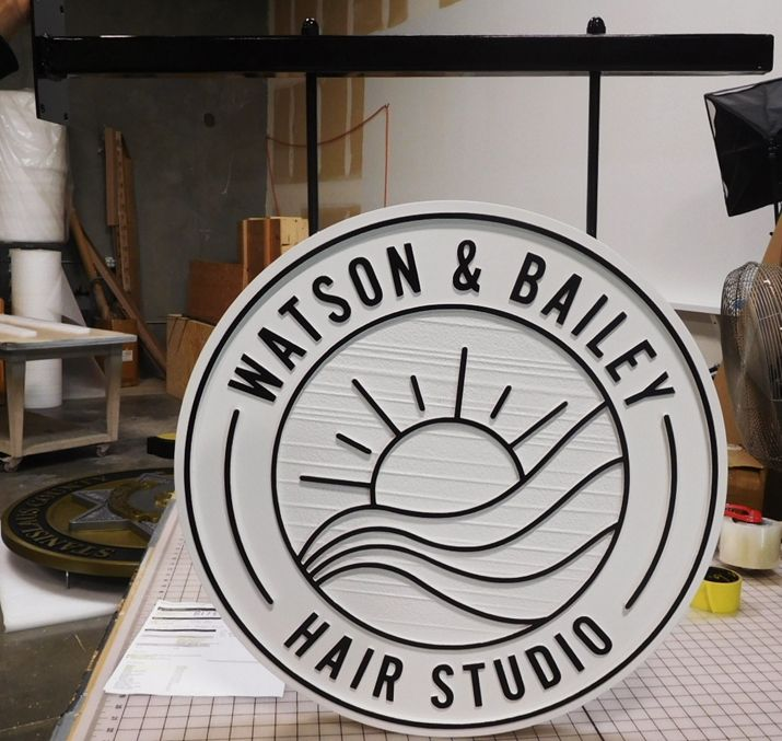 "SA28806 - Carved and Sandblasted Hanging Sign for the ""Watson & Bailey Hair Studio"", 2.5-D Outline Relief ."