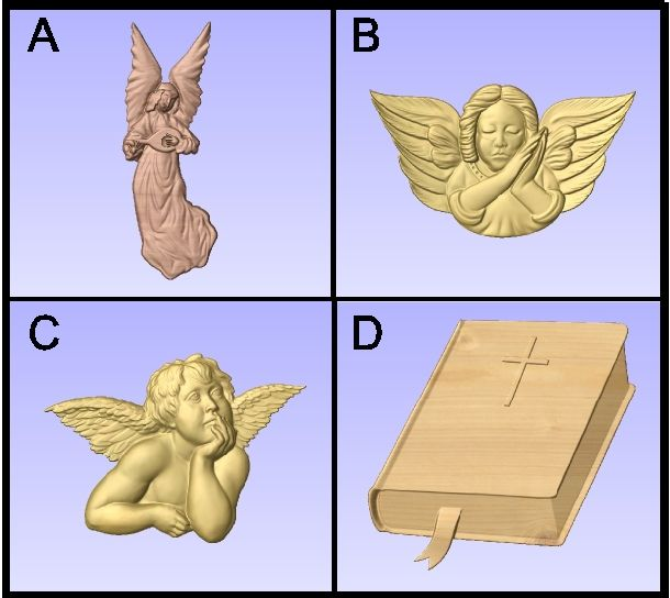 D13403 - Examples of Carved Angels, Cherubs and Holy Bible