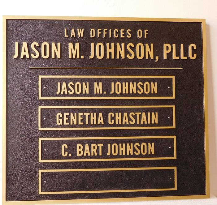 A10691 - Carved HDU Sign For Law Offices with Plaques for Names of Individual Attorneys