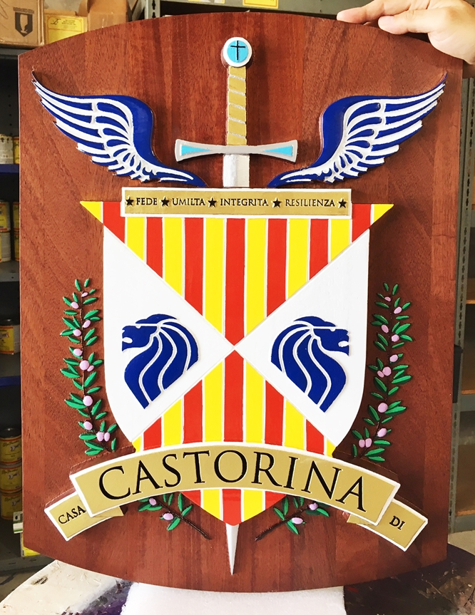 XP-2010 - Plaque of Castorina Coat-of-Arms with Sword, Shield, Wings and Wreath, 2.5-D Mahogany Artist Painted