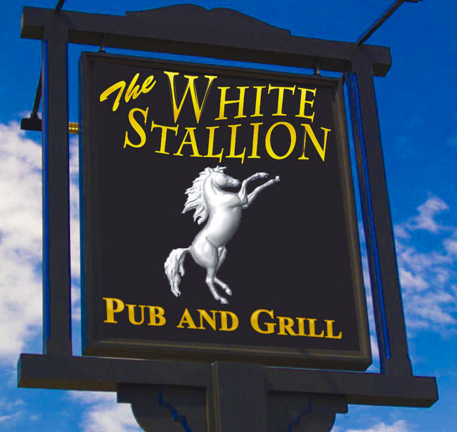 Y27685 - White Stallion Classic English Pub & Grill Sign