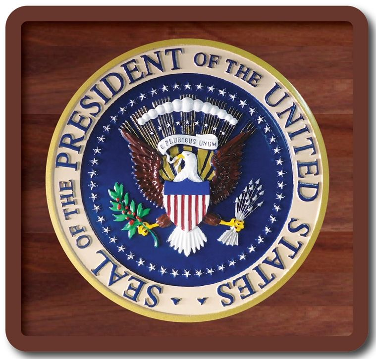 AP-1170-  Carved Plaque of the Great Seal of the President of the  United States, on Mahogany Wood