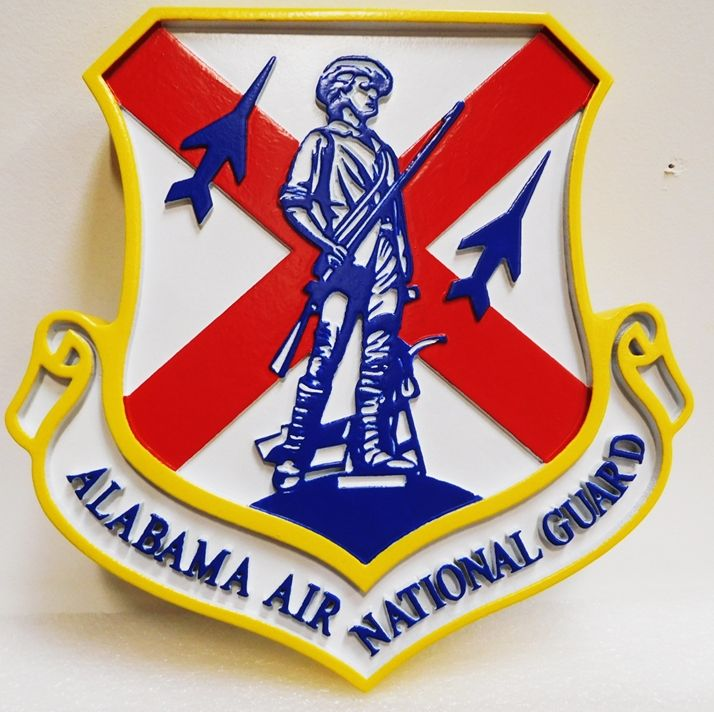 LP-1785 - Carved Plaque of the Shield Crest of the Alabama Air National Guard, 2.5-D Artist Painted