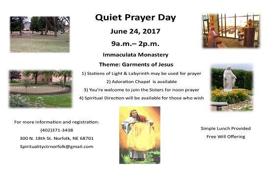 Quiet Prayer Day on June 24th!
