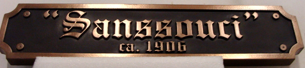 VP-1510 - Carved Wall Plaque of the Logo of San Souci, Bronze Plated
