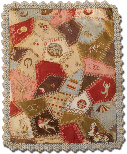 """Crazy """"Cheater Cloth"""" doll quilt, maker unknown, made in United States, circa 1890-1900, 18 x 14 in, IQSCM 2008.034.0223"""