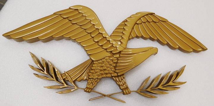 MP-1715 - Carved Plaque of an Eagle with Olive Branch Emblem, 3-D Brass Metallic Paint with Hand-Rubbed Bronze Paint