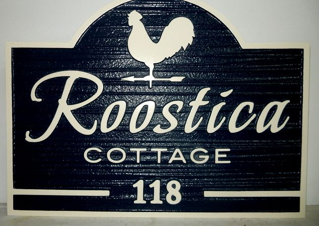 O24459 - Sandblasted, Wood Grain Roostica Cottage Sign with Rooster on Weather Vane