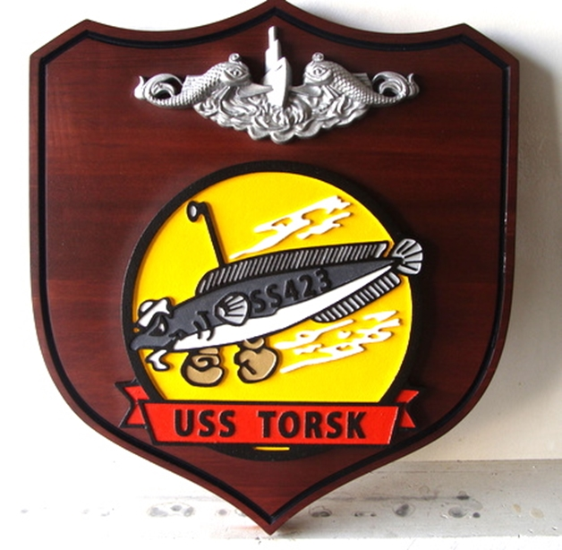 JP-2180 - Carved Shield Plaque for USS Torsk Submarine, Artist Painted on Mahogany Wood