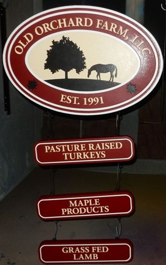 O24231 - Farm Sign with Silhouette of a Horse Grazing, and Rider Signs for Turkeys, Grass-fed Lambs and Maple Products