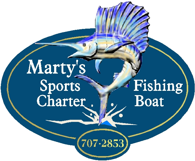 M2095- Carved Sailfish Fishing Charter Sign
