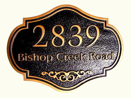 I18858 - Elegant Carved Wood House Address Sign