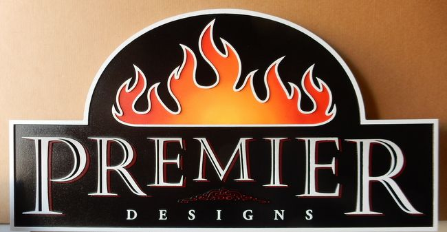 """A28079 - Sign for """"Premier Design Studio,"""" with  Flame Logo as Artwork"""