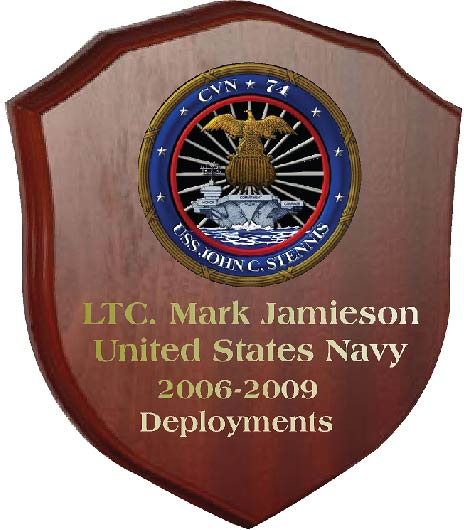 JP-1400-  Engraved Deployment  Plaque for LTC.  with Picture of USS John C. Stennis, Giclee Print on Mahogany