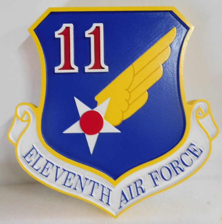 LP-1580 - Carved Shield Plaque of the Crest of the Eleventh Air Force, Artist Painted