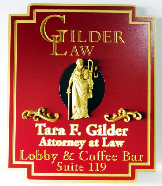 A10010 - Elegant  Attorney-At-Law Sign, with 3-D Carved Lady Justice and extensive 24K Gold-Leaf Gilding