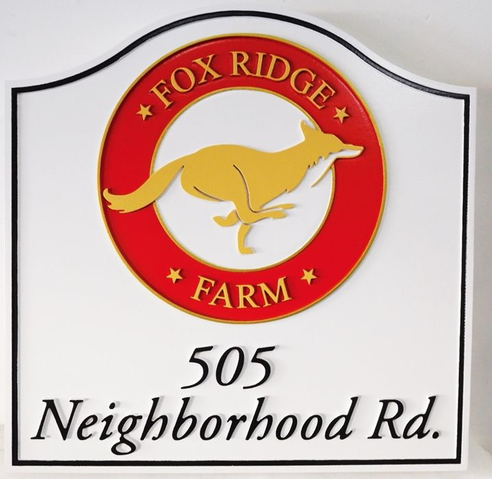 """O24614 - Carved  """"Fox Ridge Farm"""" Address and Entrance Sign, wit Artist-Painted Fox as Artwork"""