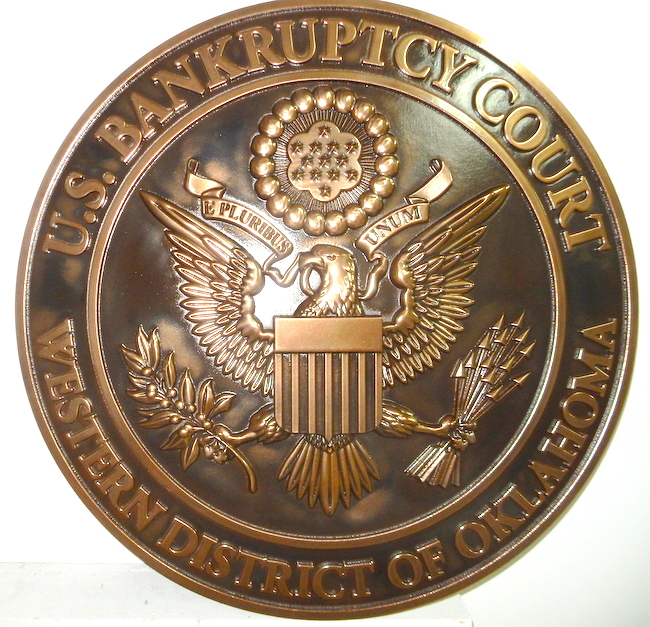 U30134 - Carved 3-D Bronze Wall Plaque of the Seal of the US Bankruptcy District Court,Western District of California.
