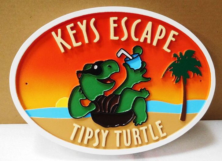 """L21666 - Carved Seashore Home Name Sign , """"Keys Escape, Tipsy Turtle"""", with  Ocean,  Setting Sun,  Palm Trees, and  Comical Turtle with a Drink"""