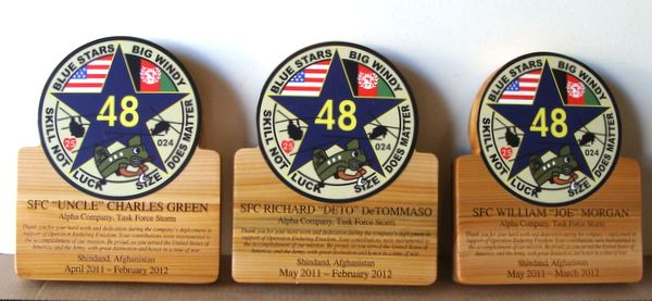 MP-3560 - Carved Campaign Plaques with Unit Insignia, Afghanistan, Personalized, Cedar Wood