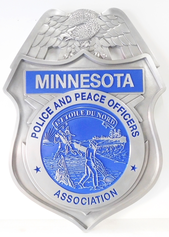 PP-1150  - Carved Wall Plaque of the  Badge of the Minnesota Peace Officers Association, Aluminum Plated and Artist Painted