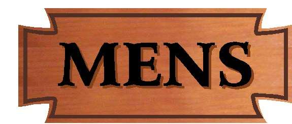 GB16796 - Engraved Cedar Wood Sign  For a Men's Restroom