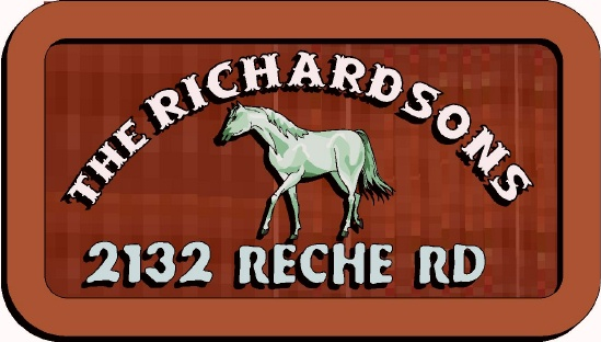 O24218 - Design of a Residence Sign with Carved Image of Horse