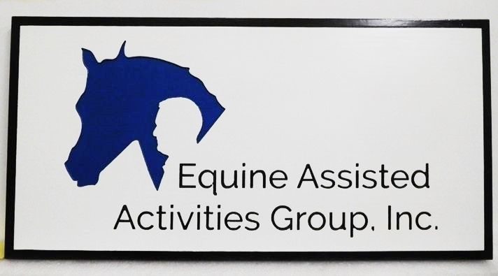 """P25203 - Engraved HDU Sign for the  """"Equine Assisted Activity Group, Inc.""""  with  Silhouettes of a Horse and  a Man's Head as Artwork"""