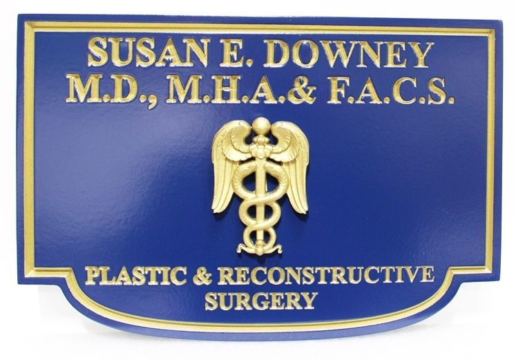 """B11034 - Carved 3-D and Engraved HDU  Sign for """"Susan E. Downey, Plastic & Reconstructive Surgery"""", with 24K Gold-Leaf Filed Text , Border and Caduceus Artwork"""