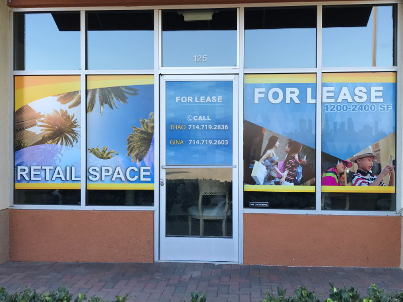 For Lease Window Graphics | Orange County CA