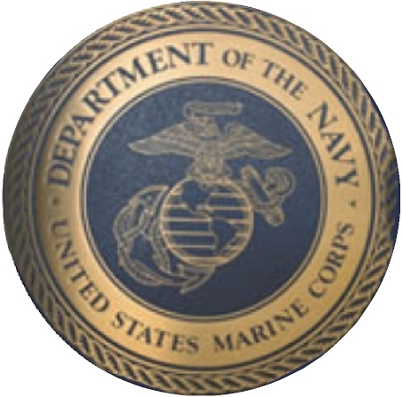 V31412 - Marine Corps Blue and Gold Engraved Seal Wall Plaque