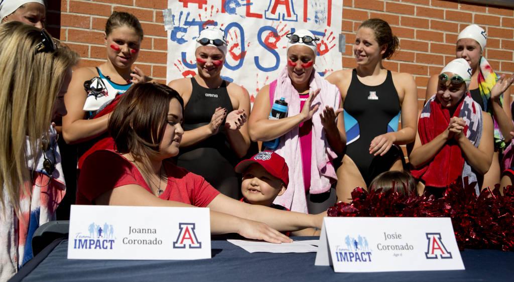Arizona swim team looks to 6-year-old Josie Coronado for motivation