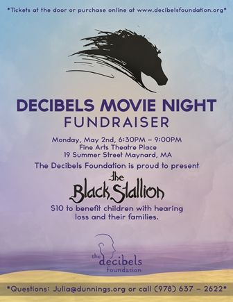 Join us at the Decibels Movie Night Fundraiser on Monday, May 2nd from 6:30-9 for a special viewing of the The Black Stallion!