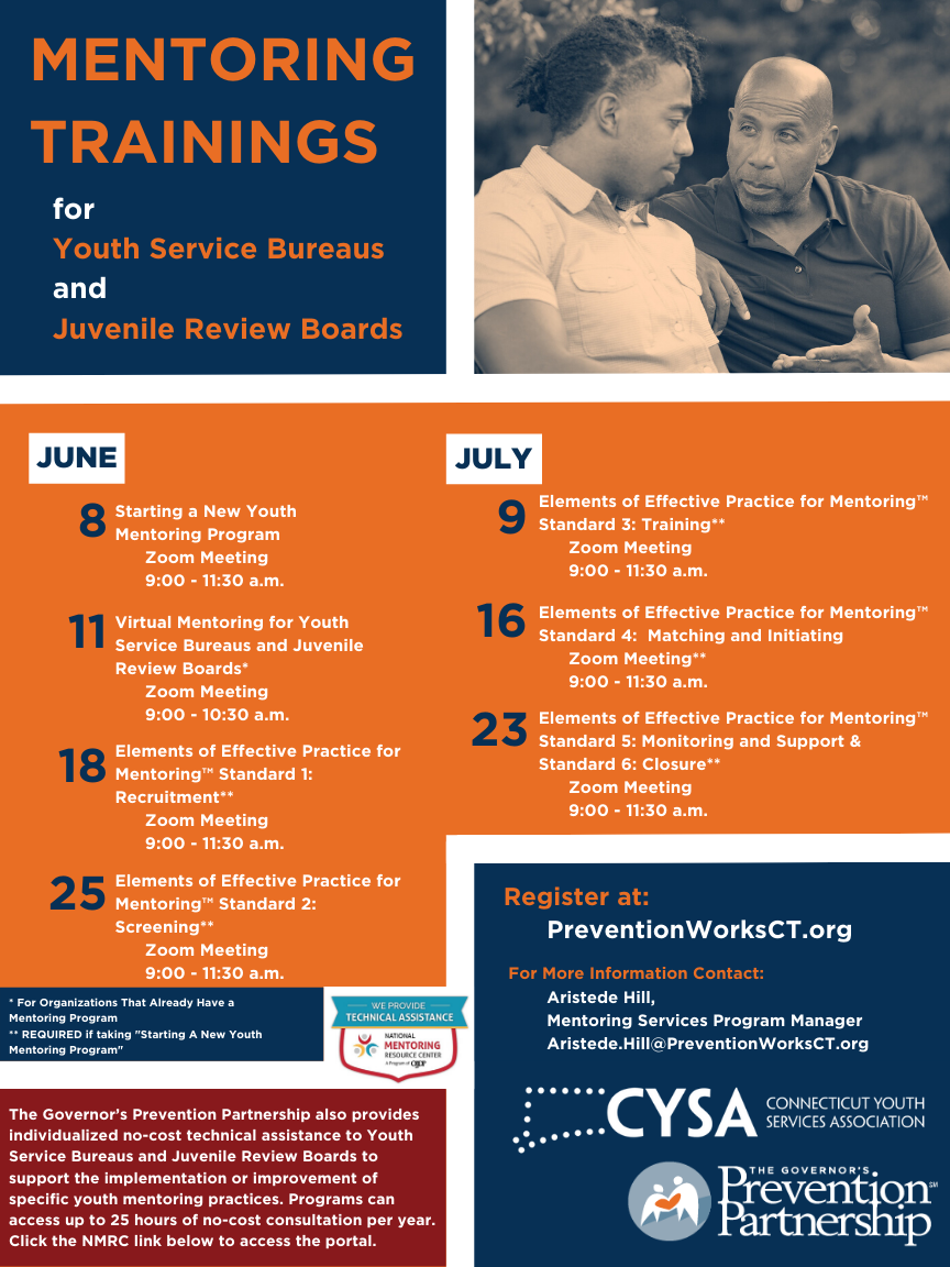 Mentoring Trainings for Youth Service Bureaus and Juvenile Review Boards