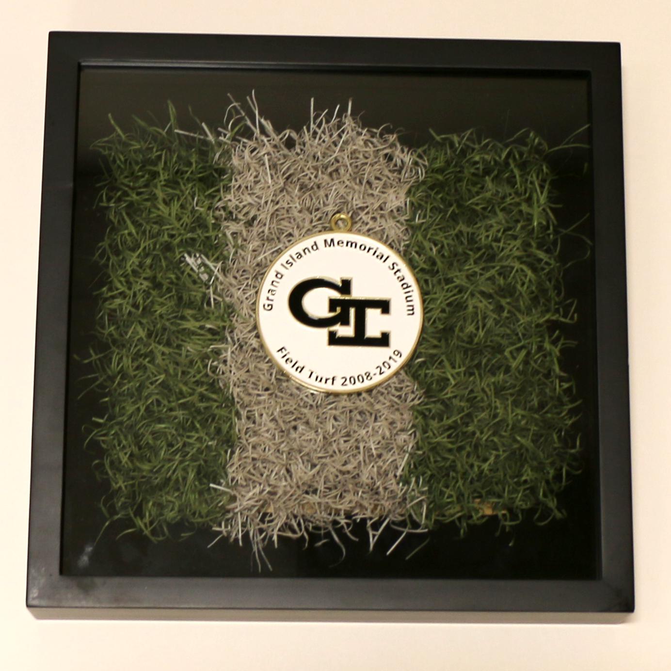 Shadow Box with turf stripe - Grand Island Senior High medallion