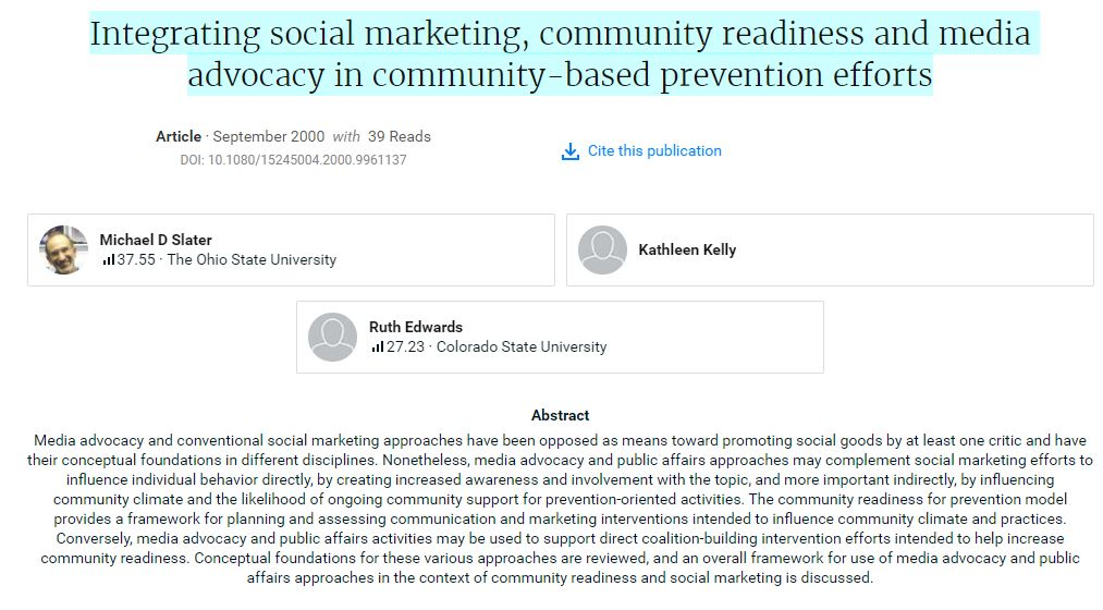 Integrating social marketing, community readiness and media advocacy in community-based prevention efforts