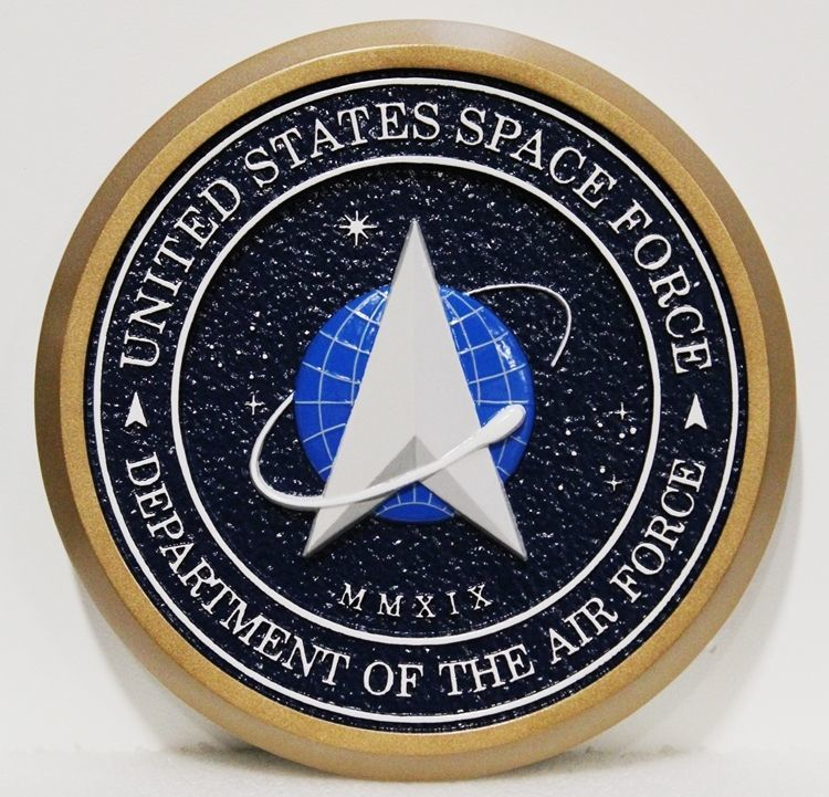 LP-1202- Carved 3-D Bas-Relief Mahogany  Wood Plaque of the Seal of the US Space Force