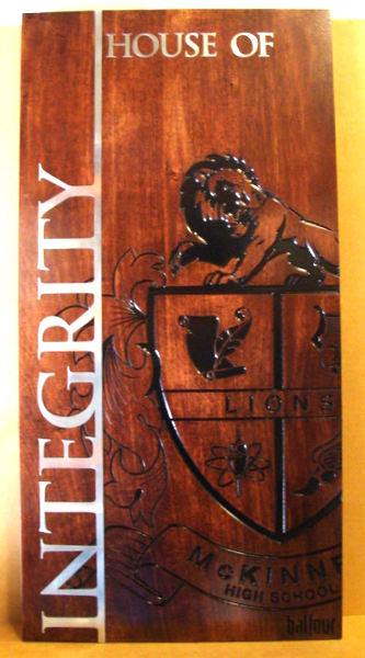 WW8160 - School Crest  Plaque, 2.5-D and Engraved Stained Alder Wood with Aluminum Clad Text