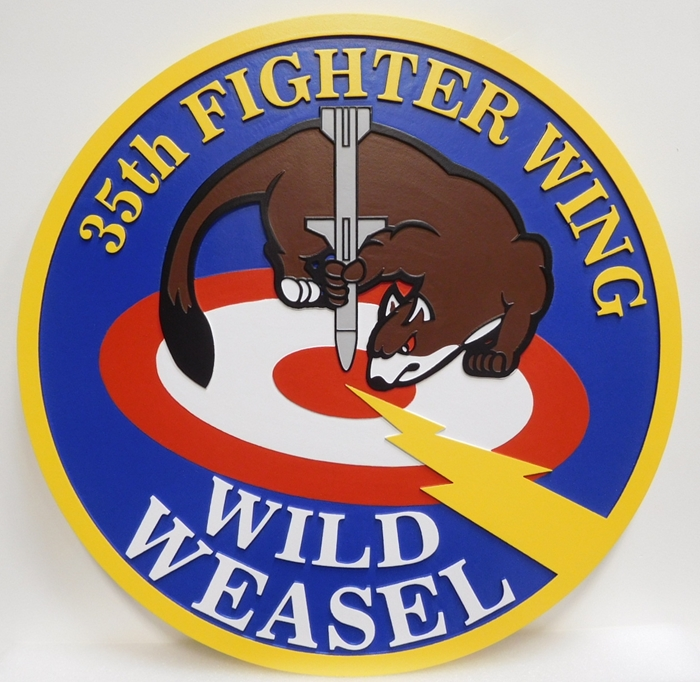 LP-2250 - Carved Plaque of the Crest of the 35th Fighter Wing, Wild Weasel, Artist Painted