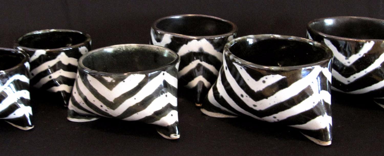 "Zebra Bowls, high fire stone ware, 3.5"" x 5.5"" x 5.5"""
