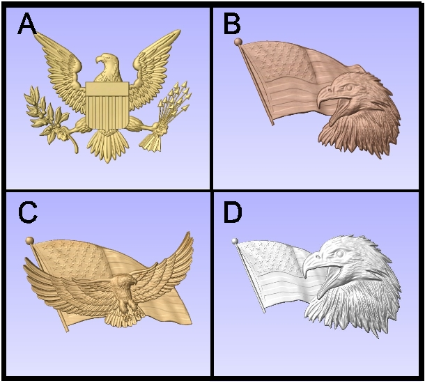 V31198- 3-D US Military Carved Art Appliques